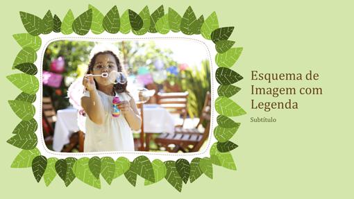 Álbum de fotografias da família (design da natureza com folhas verdes)