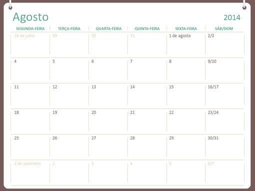Calendário académico 2014-2015 (agosto-julho)