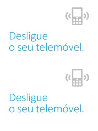Cartaz de lembrete para desligar telemóvel