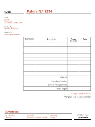 Fatura empresarial (design Vermelho e Preto)