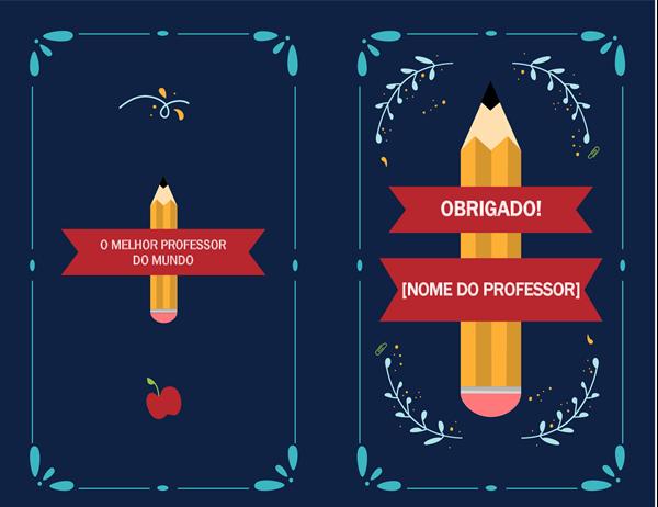 Cartão de agradecimento a professores