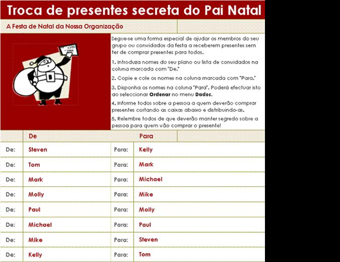 Lista de troca de presentes secreta do Pai Natal