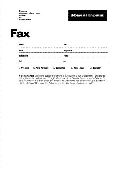 Página de rosto de fax (tema Profissional)