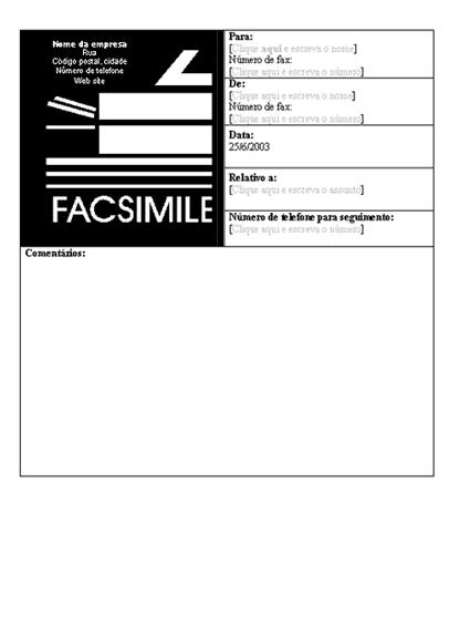 Folha de rosto do fax da empresa