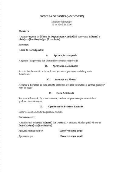 Minutas para reunião de organização (formato longo)
