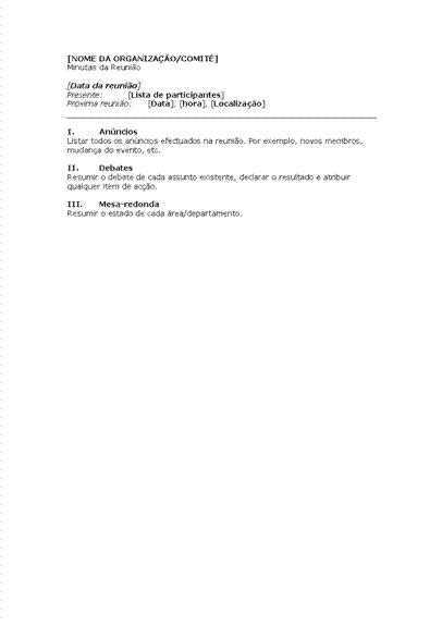 Minutas para reunião de organização (formato breve)