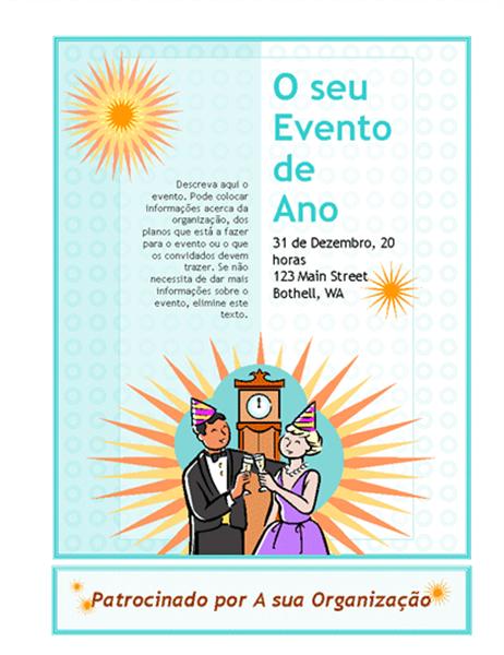 Panfleto de eventos do Ano Novo