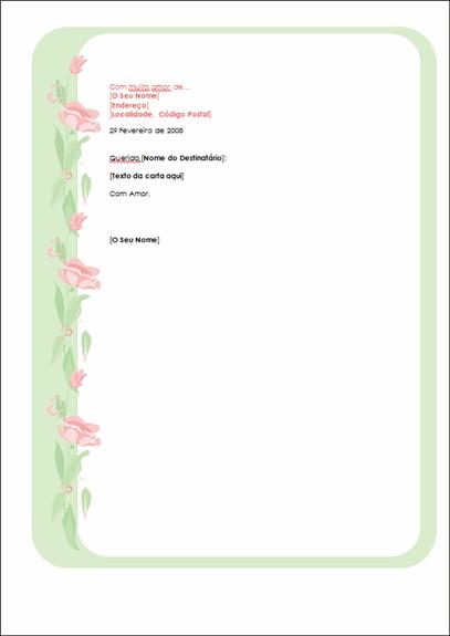 Papel de carta para o dia de S. Valentim
