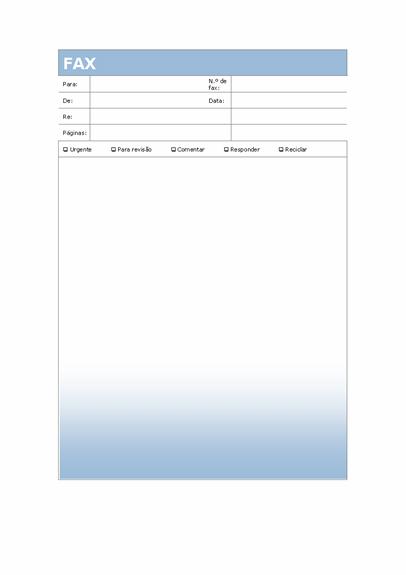 Página de rosto de fax (tema Gradação de Azul)