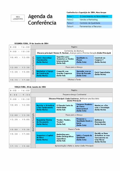 Agenda da conferência com faixas