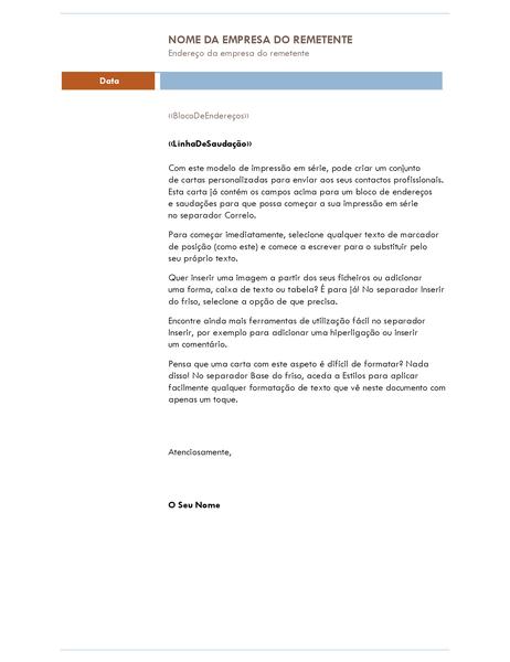 Carta de impressão em série (tema Mediano)