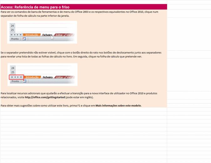 Access 2010: Livro de referência do menu para o friso
