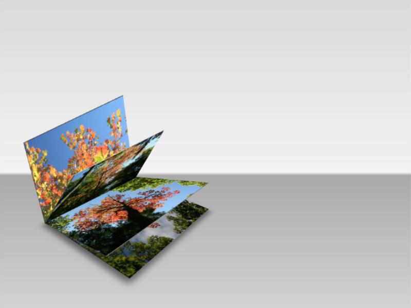 Imagens em livro com folhas abertas em 3D