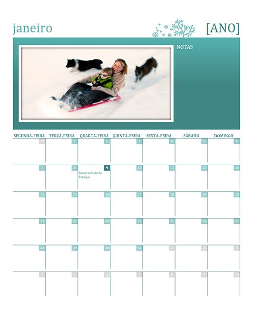 Calendário familiar sazonal (qualquer ano, seg-dom)