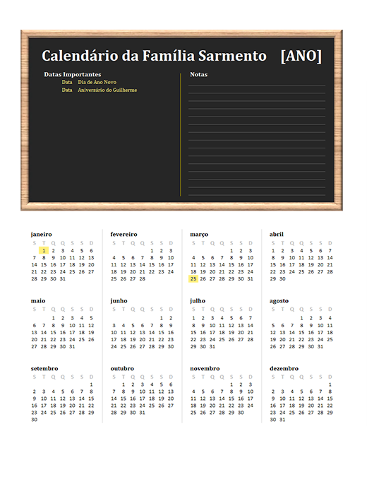 Calendário de família (qualquer ano, de segunda-feira a domingo)