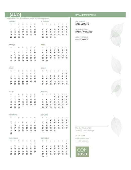 Calendário para pequenas empresas (qualquer ano, de segunda-feira a domingo)