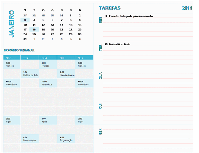 Calendário de planeamento semanal escolar (qualquer ano, seg-dom)