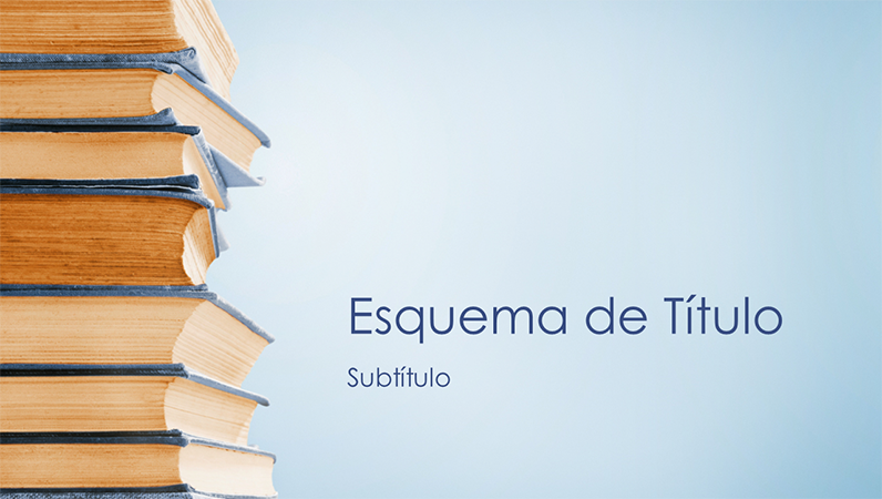 Apresentação com fundo de pilha de livros azul (ecrã panorâmico)