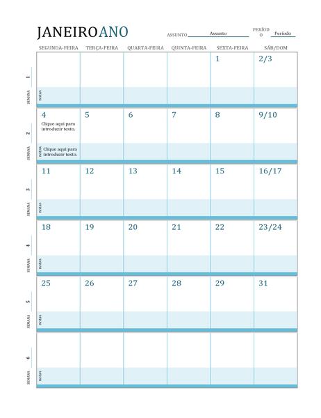 Calendário de planeamento de aulas