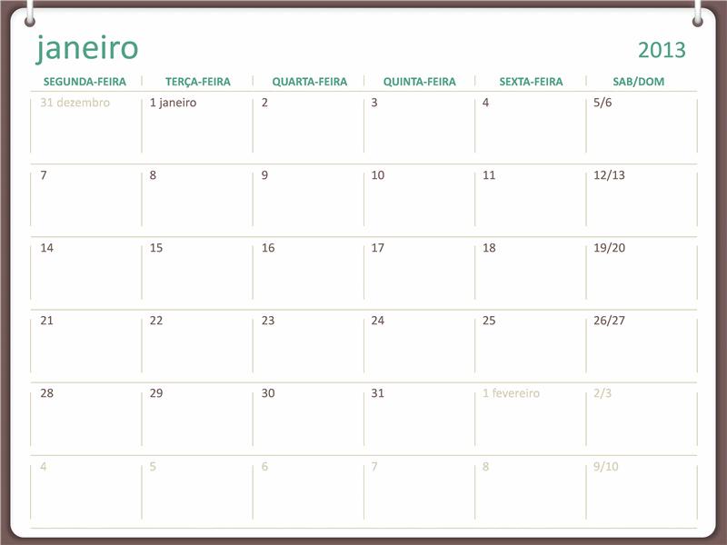 Calendário para 2013 com estrutura de dois anéis (seg-dom)