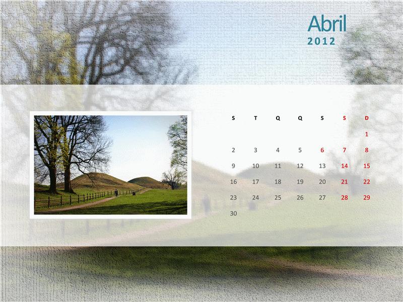 Calendário de Fotografias de 2012 - Segundo Trimestre