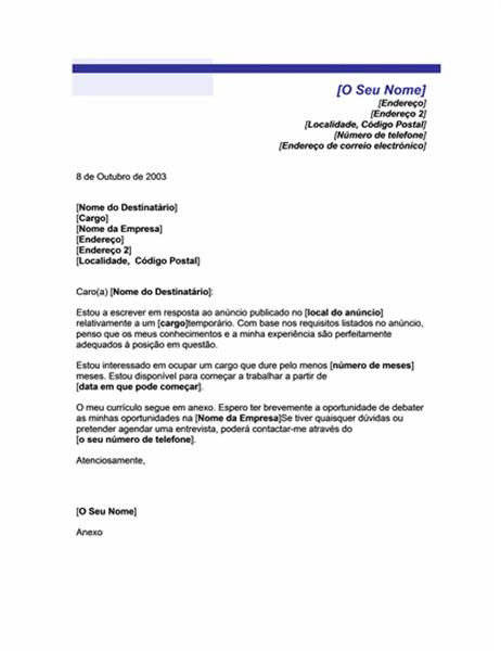 Carta de apresentação para posição temporária (tema Linha Azul)