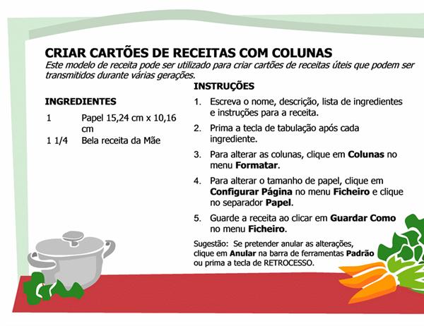 Cartão de receitas (várias colunas)
