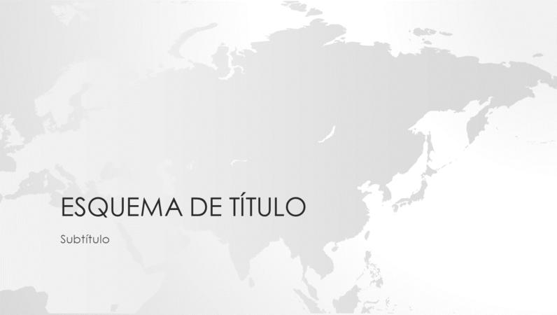 Conjunto Mapas do mundo, apresentação com continente asiático (ecrã panorâmico)