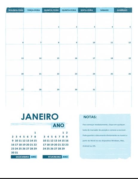 Calendário académico S-D (qualquer ano)