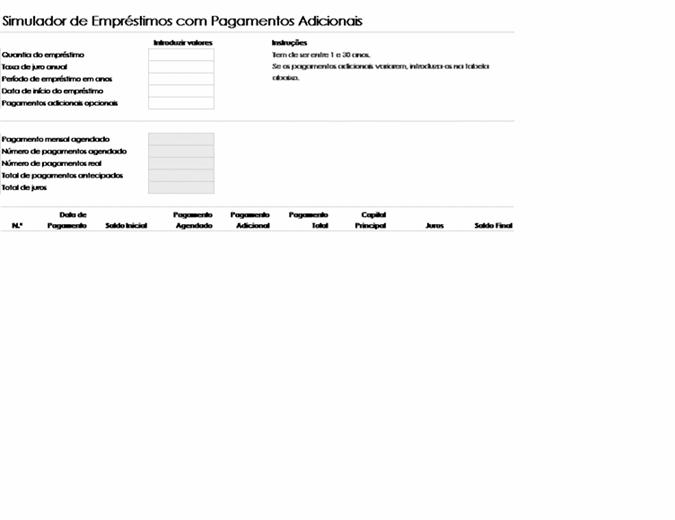Simulador de empréstimos com pagamentos adicionais
