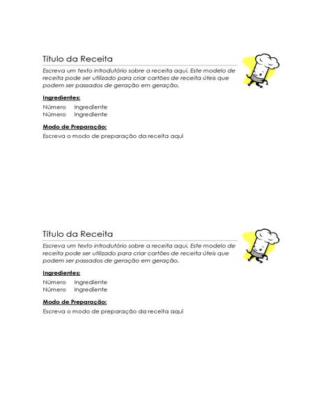 Cartões de receitas (2 por página)