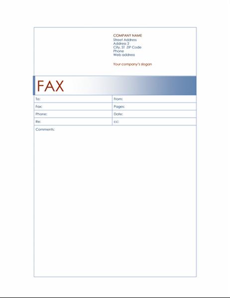 Página de rosto de fax (tema Azul)