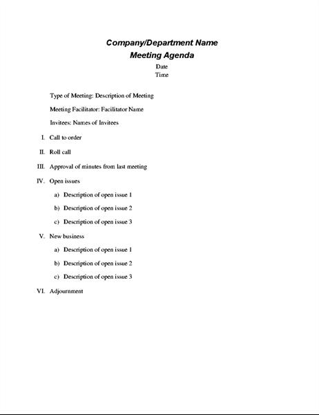 Agenda para uma reunião formal
