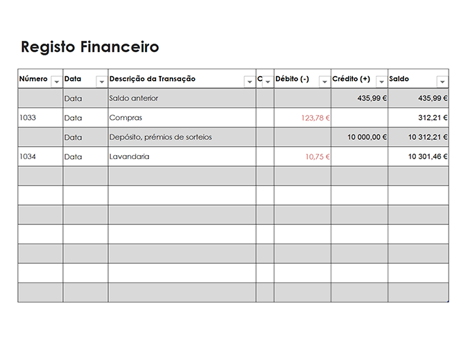 Registo financeiro (simples)