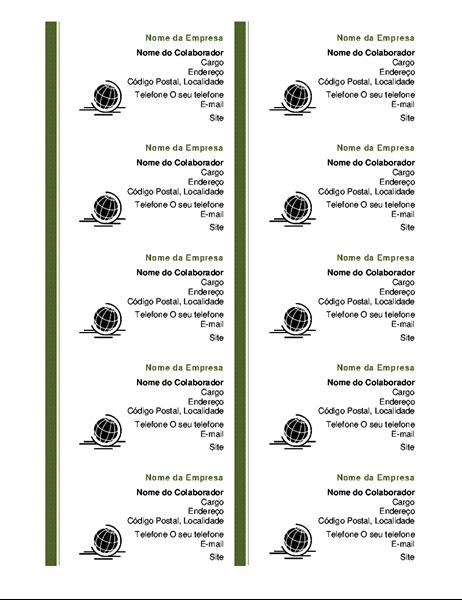 Cartões de visita (dez por página)
