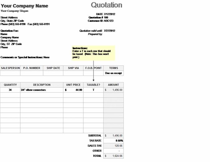 Cotação de preço com cálculo de impostos