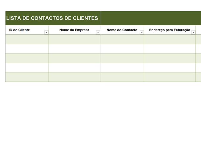 Lista básica de contactos de clientes