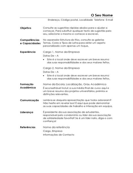 Currículo funcional (desenho Minimalista)