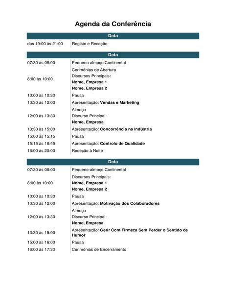 Agenda da conferência