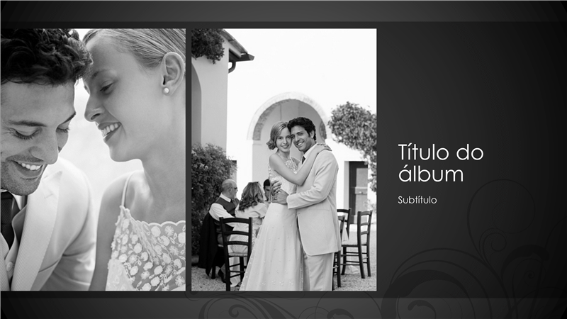Álbum de fotografias de casamento, estrutura barroca a preto e branco (ecrã panorâmico)