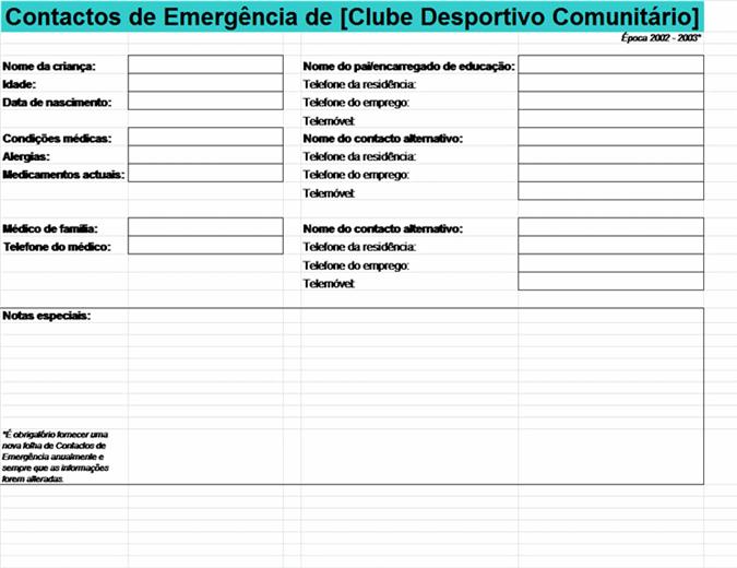 Lista de contactos de emergência da comunidade desportiva