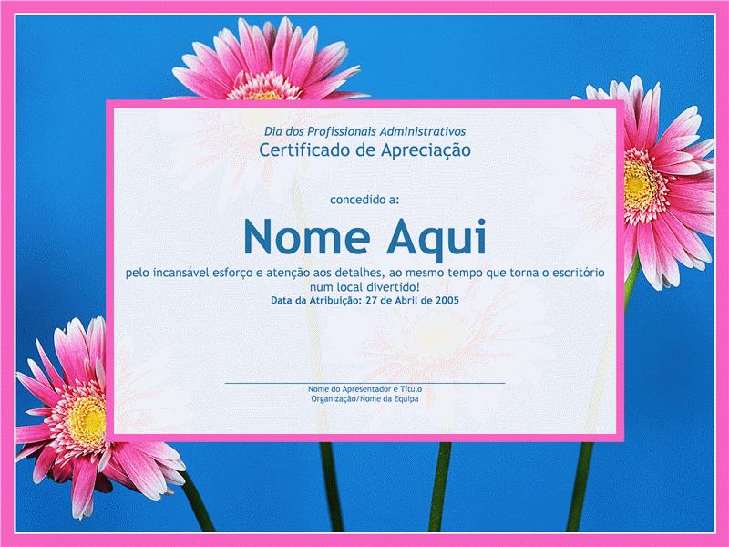 Certificado para profissionais administrativos (fotografia de fundo)