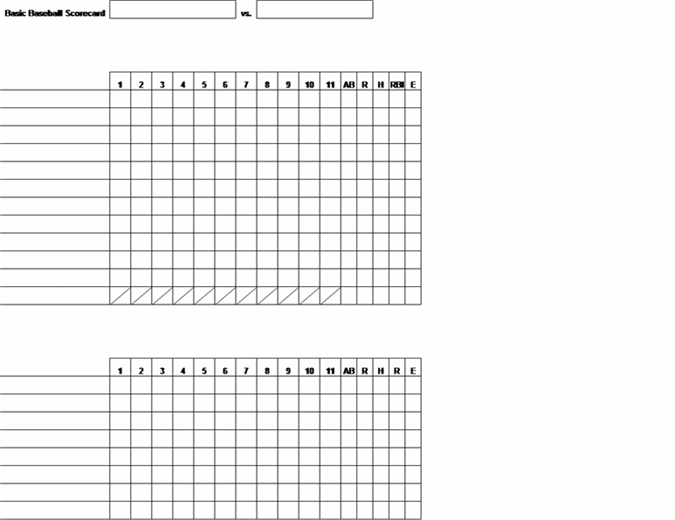 Basic baseball scorecard