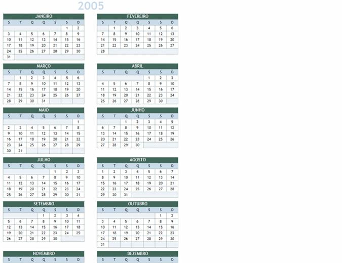 Calendário anual de 2005-2014 (Seg.-Dom.)