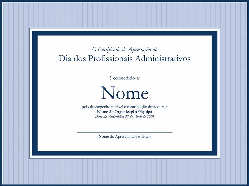 Certificado de apreciação para profissionais administrativos