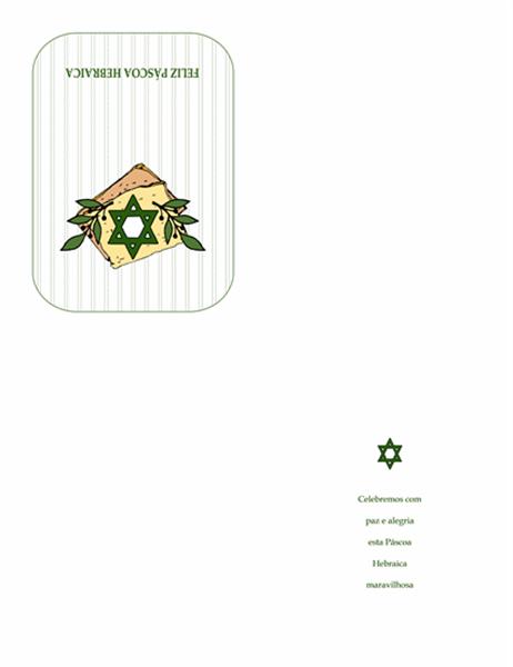 Cartão da Páscoa Hebraica (com a Estrela de David)