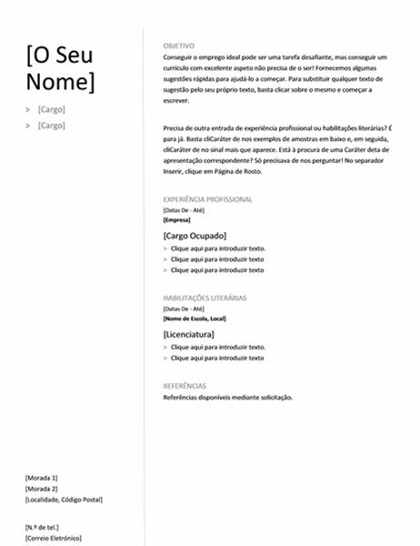 Currículo Cronológico (Estrutura Simples)