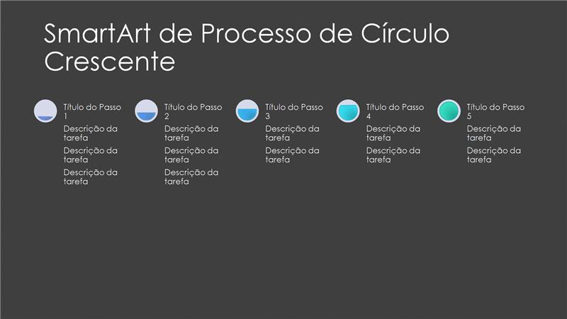 Diapositivo de SmartArt de Processo com Círculo a Aumentar (cinzento e azul sobre preto), ecrã panorâmico