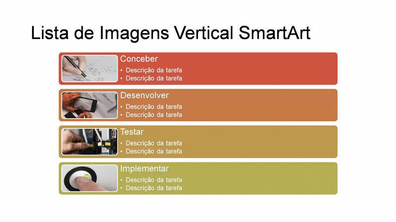 Diapositivo de SmartArt de Lista de Imagem Vertical (várias cores sobre branco), ecrã panorâmico