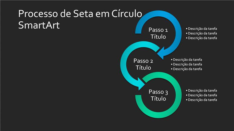 Diapositivo de SmartArt de Processo com Seta Circular (azul e verde sobre preto), ecrã panorâmico